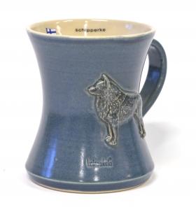 Schipperke, töpöhäntä muki sininen
